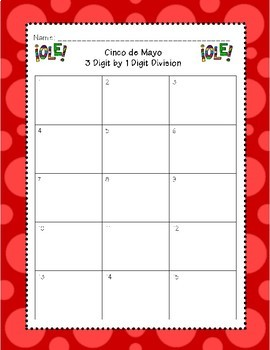 Cinco de Mayo 3 Digit by 1 Digit Division Task Cards