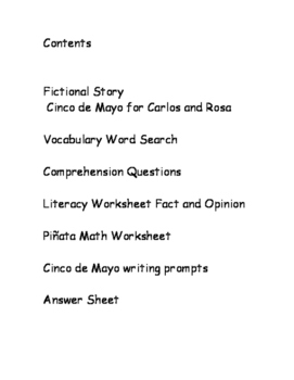 Cinco de Mayo:  Literacy and Math Activity Worksheets