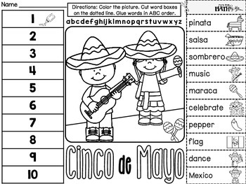 Cinco de Mayo ABC Order Cut and Paste FREEBIE: Level 2