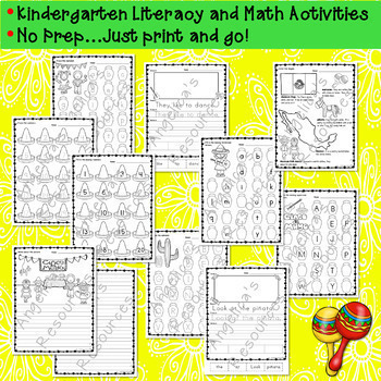Cinco de Mayo Activities Bundle : Literacy, Math, Crowns, and Dot to Dot Fun
