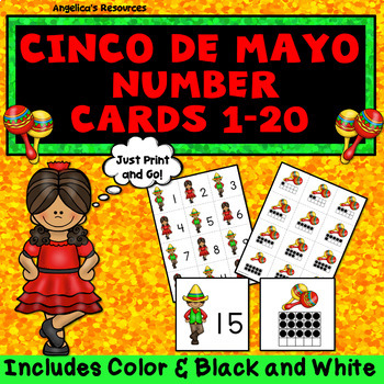 Cinco de Mayo Activities: Counting and Cardinality Number Cards 1 - 20