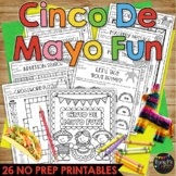 Cinco de Mayo Activities Packet FIESTA THEME, Puzzles, Games, Math, Reading