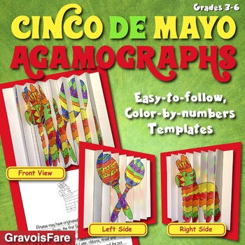 Cinco de Mayo Activities and Crafts: Three Color-by-Number Agamographs