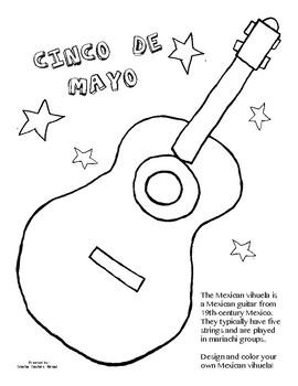 Cinco de Mayo Activity (Coloring Guitar & Maracas)  - Special Education