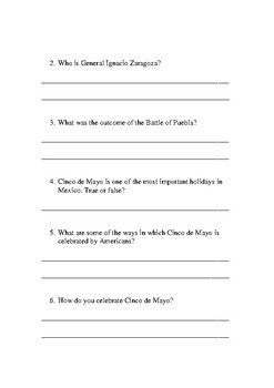 Cinco de Mayo Activity: Quick Read & Study Questions