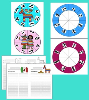 Cinco de Mayo Activities:  Blending Build A Word Wheels-Make Up To 63 Sets