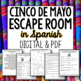Cinco de Mayo Spanish Editable Break out Room Escape Activity