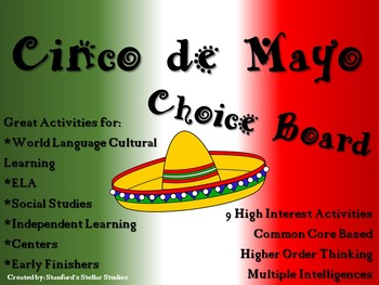 Cinco de Mayo Choice Board Activities Menu Project with Rubric Tic Tac Toe