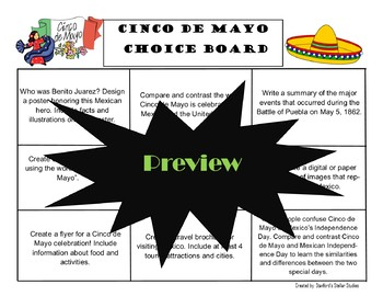 Cinco de Mayo Choice Board Activities Menu Project with Rubric Tic Tac Toe