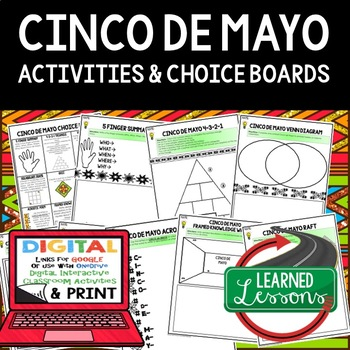 Cinco de Mayo Choice Board with 8 Activity Pages