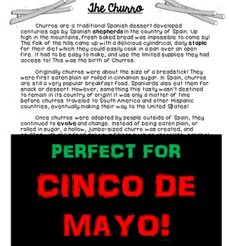 Cinco de Mayo Churro Comprehension Passage Text and Questions