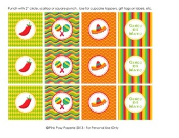 Cinco de Mayo Fiesta Classroom Party Cupcake Toppers or Tags