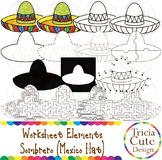 Cinco de Mayo Clip Art Mexico Hat Sombrero Worksheet Elements