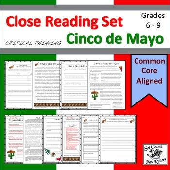 Cinco de Mayo: Close Reading (3 texts, identify bias, main idea, w/ answer keys)