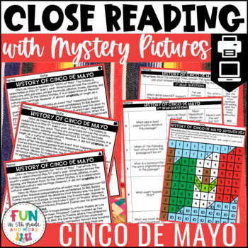 Cinco de Mayo Close Reads w/ Mystery Picture Activity for Grades 3-6