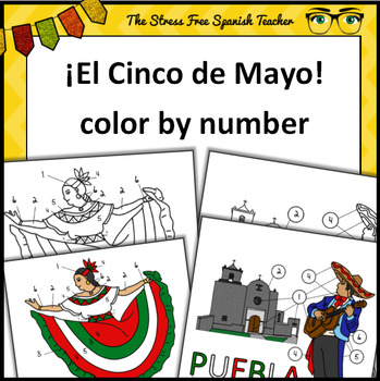 Cinco de Mayo, Color By Number, Spanish