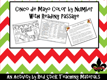 Cinco de Mayo Color By Number with Reading--NO PREP!