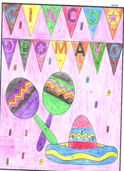 Cinco de Mayo Color By number page (3 forms!)