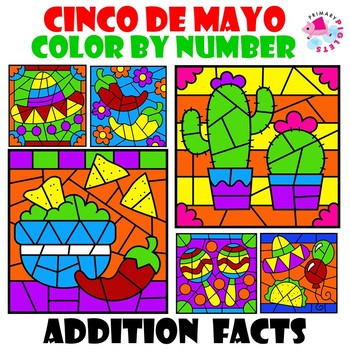 Cinco de Mayo Color by Number Addition Facts Set