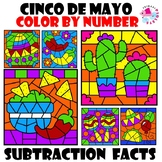 Cinco de Mayo Color by Number Subtraction Facts Set
