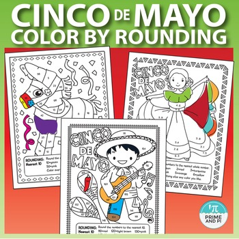 Cinco de Mayo Math Worksheets: Color by Number Rounding