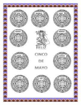 Cinco de Mayo-Color the Aztec Calendar & Headband-Word Search Mexican Foods