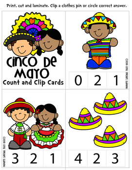 Cinco de Mayo Count and Clip cards Numbers 0-20 plus worksheets