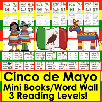 Cinco de Mayo Activities:  Mini Books - 3 Reading Levels - Illustrated Word Wall