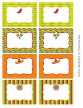 Cinco de Mayo Fiesta Classroom Decor Bin Tag Labels
