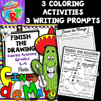 Cinco de Mayo Finish The Drawing Writing and Coloring Activity