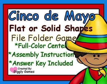 Cinco de Mayo Flat or Solid Shapes File Folder Game