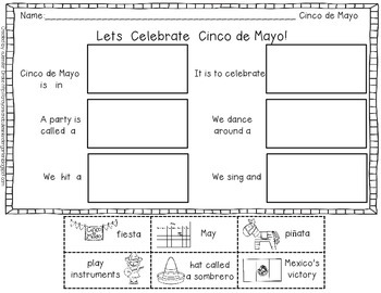 graphic relating to Printable Foldables known as Cinco de Mayo Foldable Emergent Reader! Shade, Black White and Printable!