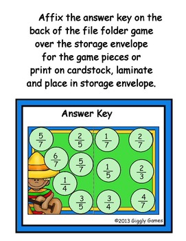 Cinco de Mayo Fractions File Folder Game