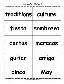 Cinco de Mayo Freebie ~ Bingo-Style Word Game