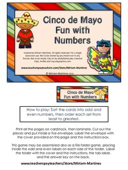 Cinco de Mayo Fun with Numbers. Odd and even, least to greatest.