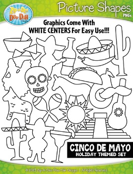 Cinco de Mayo Picture Shapes Clipart {Zip-A-Dee-Doo-Dah Designs}