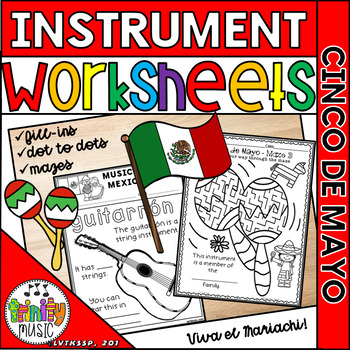 Music of Mexico (and/or Cinco de Mayo Celebrations) Instrument Worksheets