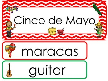 Cinco de Mayo Word Wall Weekly Theme Posters.