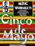 Cinco de Mayo MUSIC Sheets: color by note/hidden pictures/