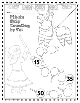 Cinco de Mayo Piñata Math- Skip Counting by 2s, 5s, & 10s