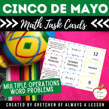 Cinco de Mayo Math Word Problem Task Card Activity