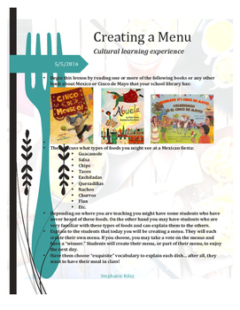Cinco de Mayo Menu- Cultural Learning Experience