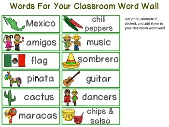 Cinco de Mayo Mini-Word Wall Activity Pack