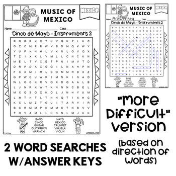 Music of Mexico (Cinco de Mayo) Word Search -Freebie