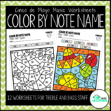 Cinco de Mayo Music Worksheets: Color by Note Name