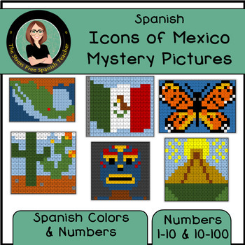 Icons of MEXICO Mystery Pictures! Color By Number / Grid / Spanish