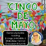 Cinco de Mayo (5 de mayo) Novice Reading, Crossword, and S
