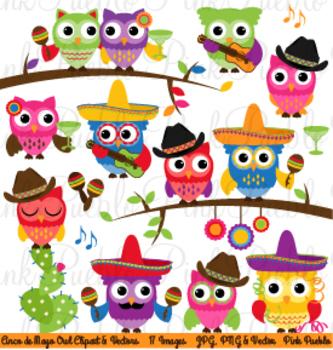 Cinco de Mayo Owls Clipart Clip Art