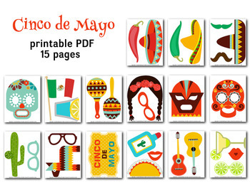 Cinco de Mayo Photobooth Props Mexican Fiesta Photo Booth Props Party DIY