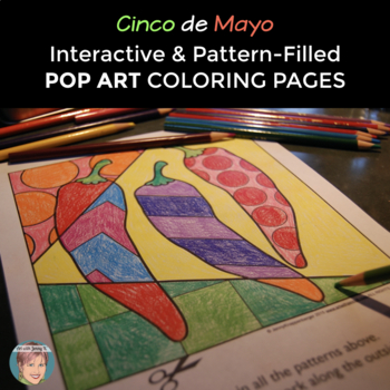 Cinco de Mayo Pop Art Coloring Sheets by Art with Jenny K TpT